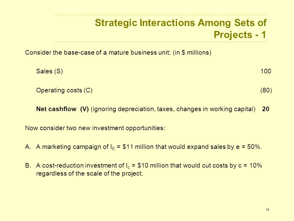 18 Strategic Interactions Among Sets of Projects - 1 Consider the base-case of a mature business unit: (in $ millions) Sales (S)100 Operating costs (C)(80) Net cashflow (V) (ignoring depreciation, taxes, changes in working capital) 20 Now consider two new investment opportunities: A.A marketing campaign of I E = $11 million that would expand sales by e = 50%.