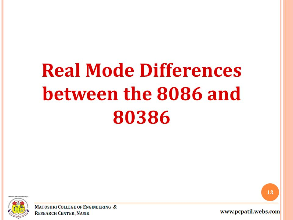 Real Mode Differences between the 8086 and 80386 13