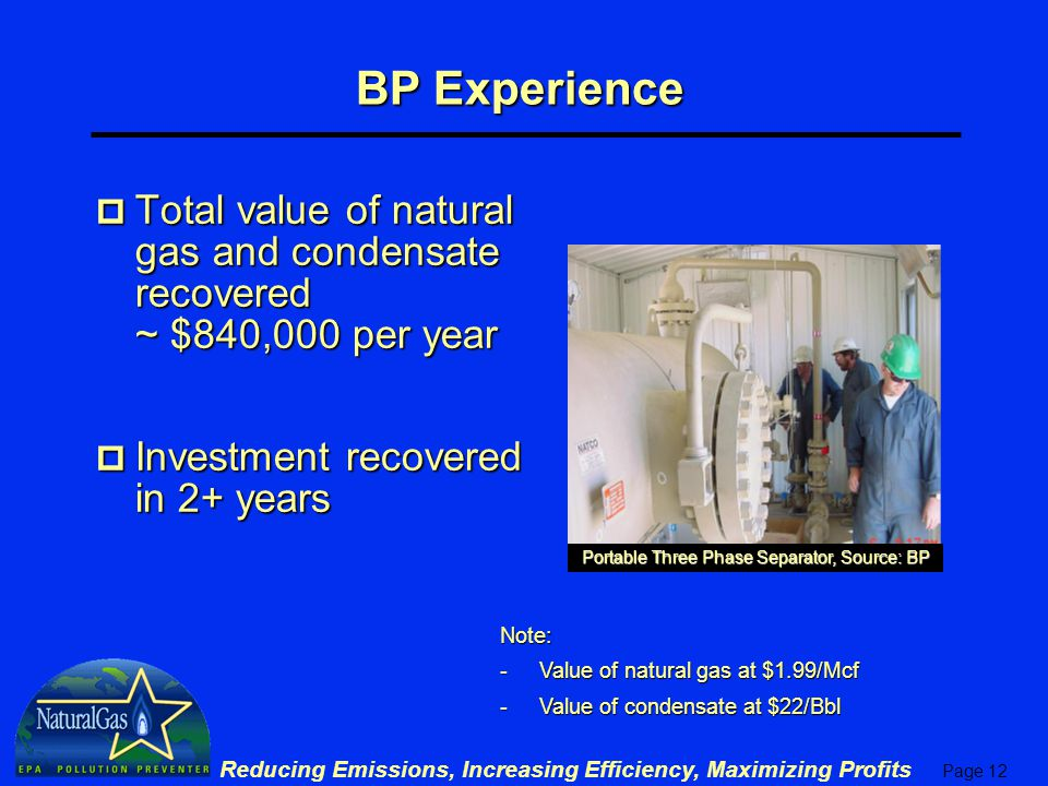 Page 12 Reducing Emissions, Increasing Efficiency, Maximizing Profits BP Experience p Total value of natural gas and condensate recovered ~ $840,000 per year p Investment recovered in 2+ years Portable Three Phase Separator, Source: BP Note: -Value of natural gas at $1.99/Mcf -Value of condensate at $22/Bbl