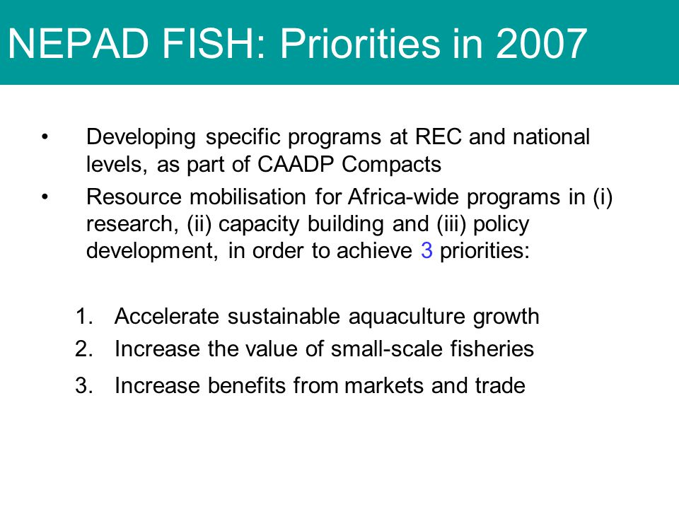 Developing specific programs at REC and national levels, as part of CAADP Compacts Resource mobilisation for Africa-wide programs in (i) research, (ii) capacity building and (iii) policy development, in order to achieve 3 priorities: 1.Accelerate sustainable aquaculture growth 2.Increase the value of small-scale fisheries 3.Increase benefits from markets and trade NEPAD FISH: Priorities in 2007