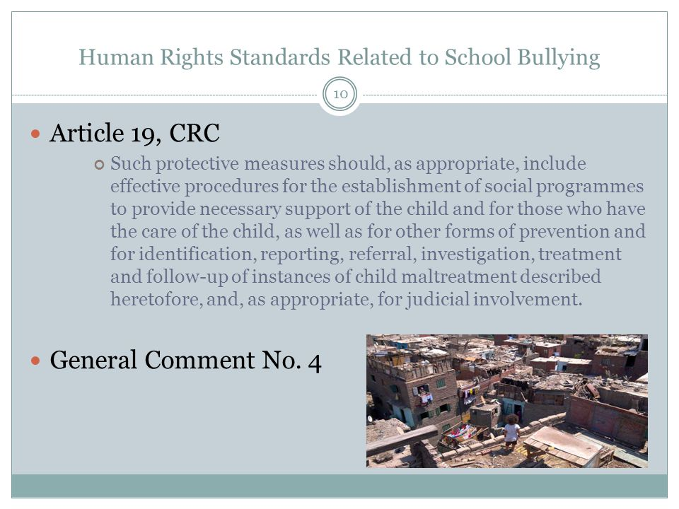 Human Rights Standards Related to School Bullying Article 19, CRC Such protective measures should, as appropriate, include effective procedures for the establishment of social programmes to provide necessary support of the child and for those who have the care of the child, as well as for other forms of prevention and for identification, reporting, referral, investigation, treatment and follow-up of instances of child maltreatment described heretofore, and, as appropriate, for judicial involvement.