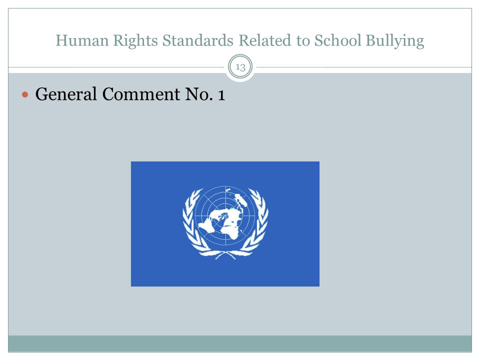 Human Rights Standards Related to School Bullying General Comment No. 1 13