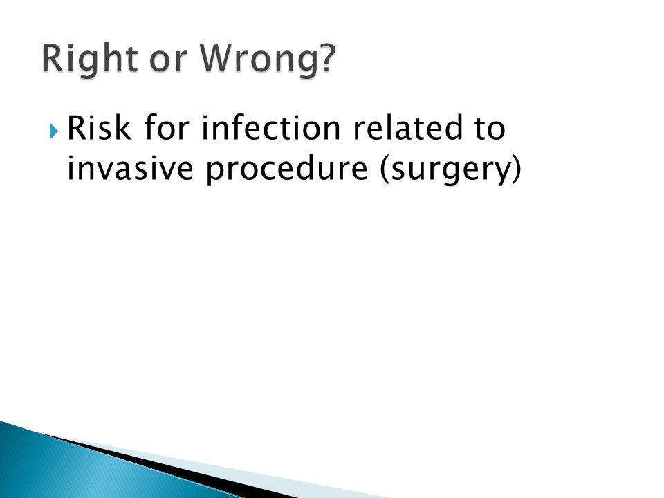  Risk for infection related to invasive procedure (surgery)
