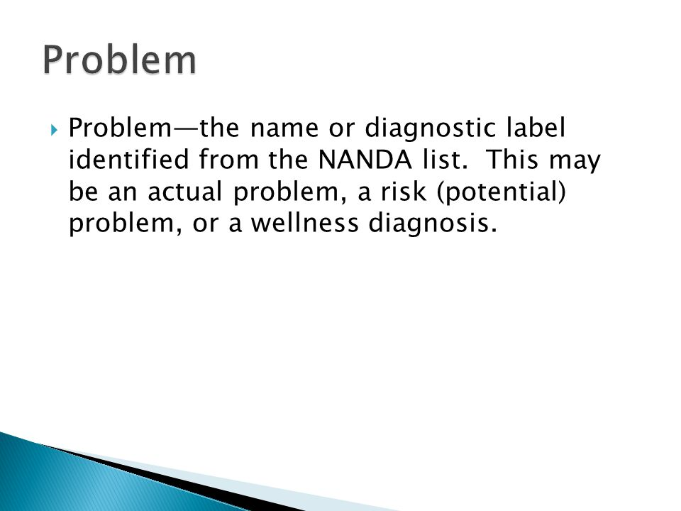  Problem—the name or diagnostic label identified from the NANDA list.