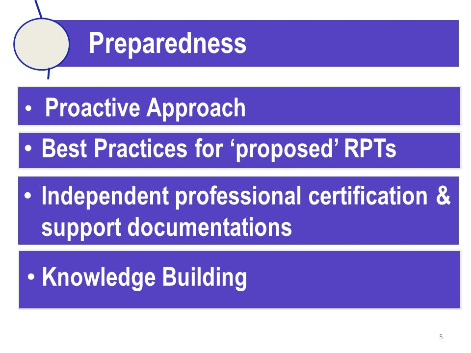 5 Preparedness Best Practices for 'proposed' RPTs Proactive Approach Independent professional certification & support documentations Knowledge Building