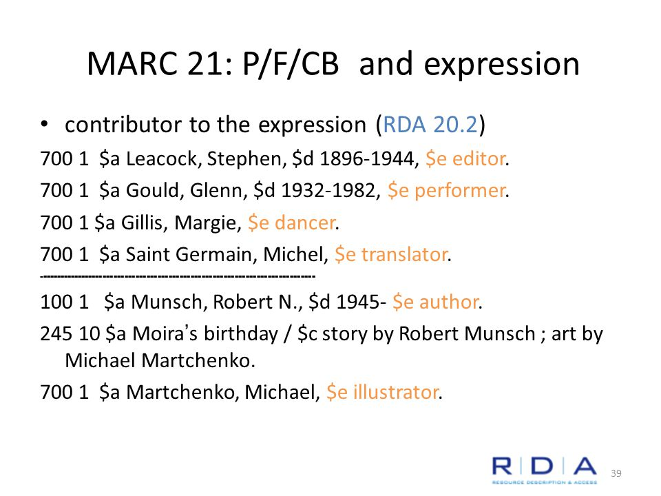 MARC 21: P/F/CB and expression contributor to the expression (RDA 20.2) 700 1 $a Leacock, Stephen, $d 1896-1944, $e editor.