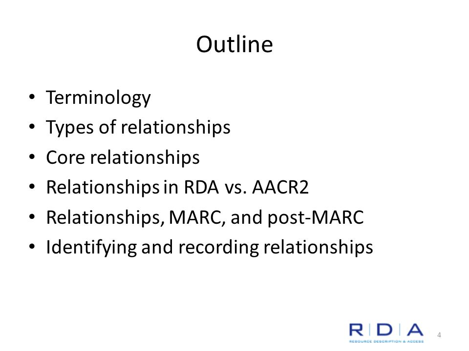 Outline Terminology Types of relationships Core relationships Relationships in RDA vs.