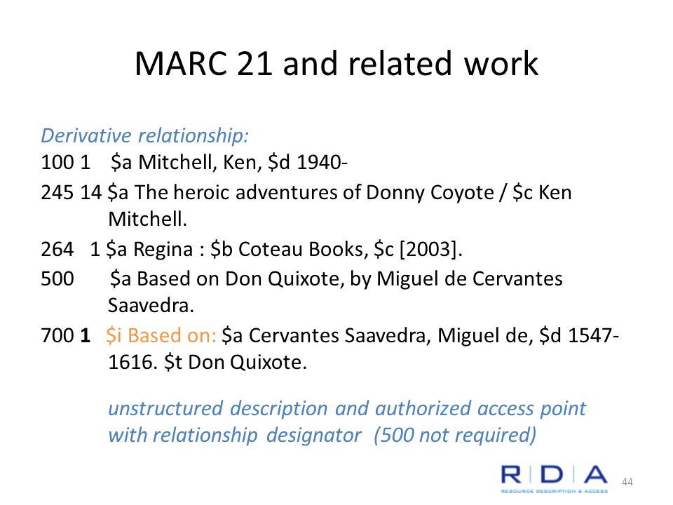 MARC 21 and related work Derivative relationship: 100 1 $a Mitchell, Ken, $d 1940- 245 14 $a The heroic adventures of Donny Coyote / $c Ken Mitchell.
