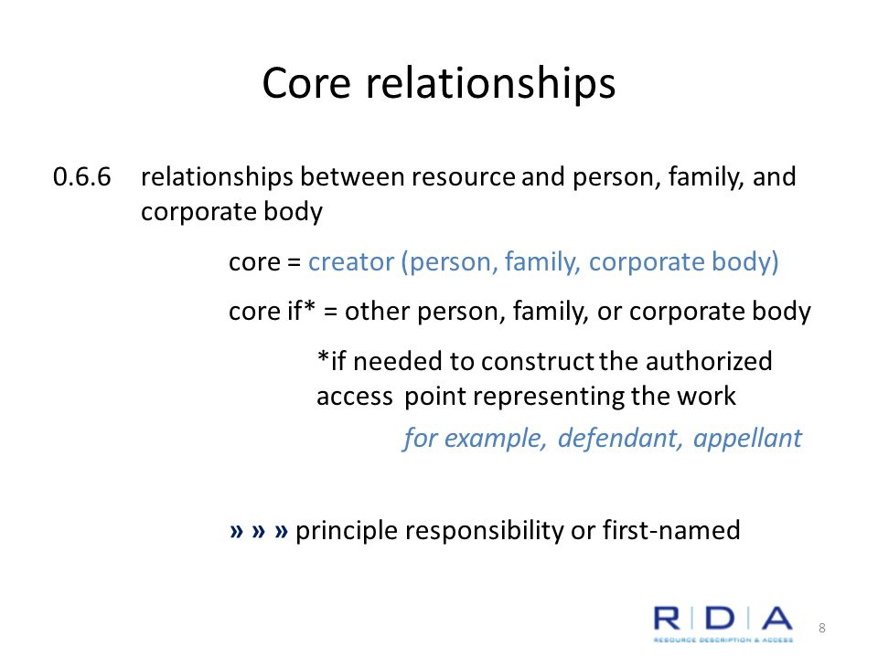 Core relationships 0.6.6relationships between resource and person, family, and corporate body core = creator (person, family, corporate body) core if* = other person, family, or corporate body *if needed to construct the authorized access point representing the work for example, defendant, appellant » » » principle responsibility or first-named 8