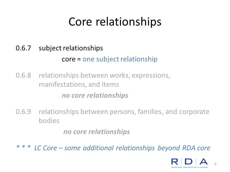 Core relationships 0.6.7subject relationships core = one subject relationship 0.6.8relationships between works, expressions, manifestations, and items no core relationships 0.6.9relationships between persons, families, and corporate bodies no core relationships * * * LC Core – some additional relationships beyond RDA core 9