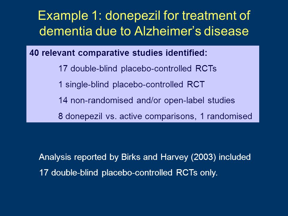 Example 1: donepezil for treatment of dementia due to Alzheimer's disease Analysis reported by Birks and Harvey (2003) included 17 double-blind placebo-controlled RCTs only.