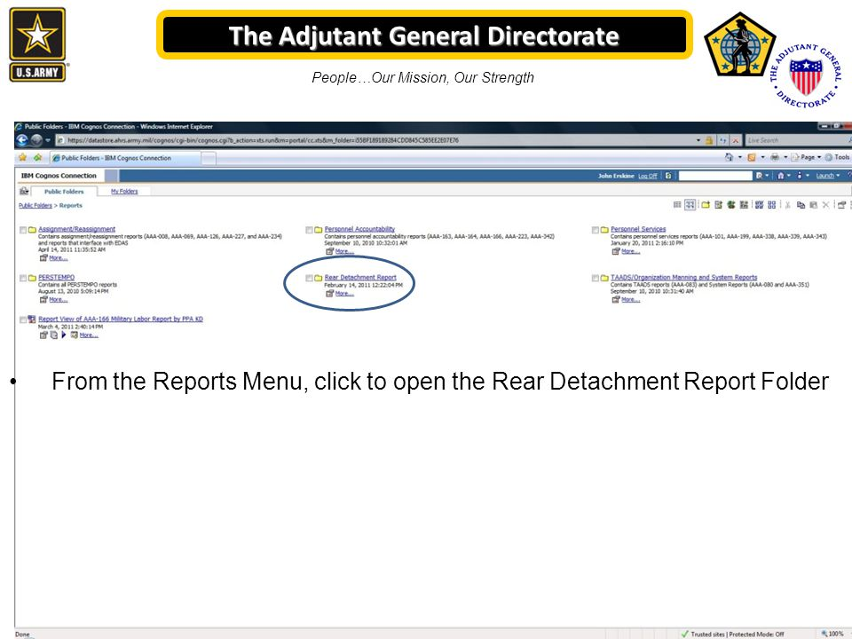 The Adjutant General Directorate People…Our Mission, Our Strength From the Reports Menu, click to open the Rear Detachment Report Folder
