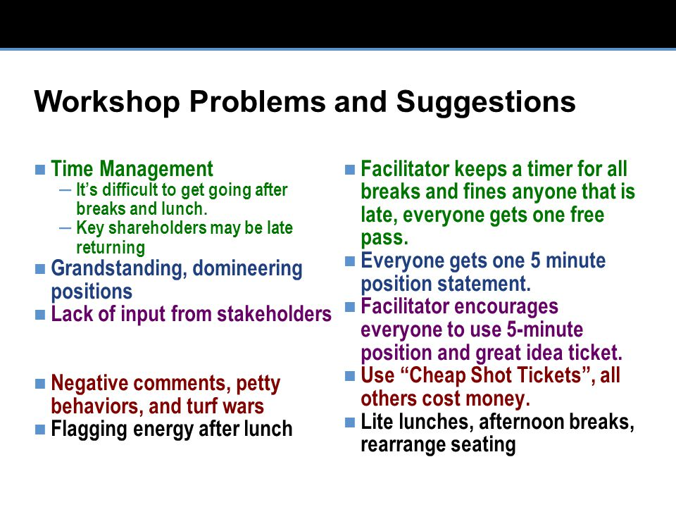Workshop Problems and Suggestions Time Management – It's difficult to get going after breaks and lunch.