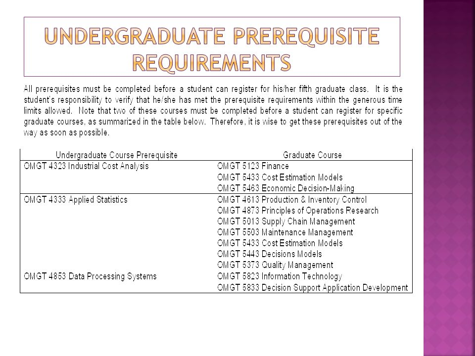  Any needed undergraduate prerequisites must be completed before a student can take their 5 th graduate course.