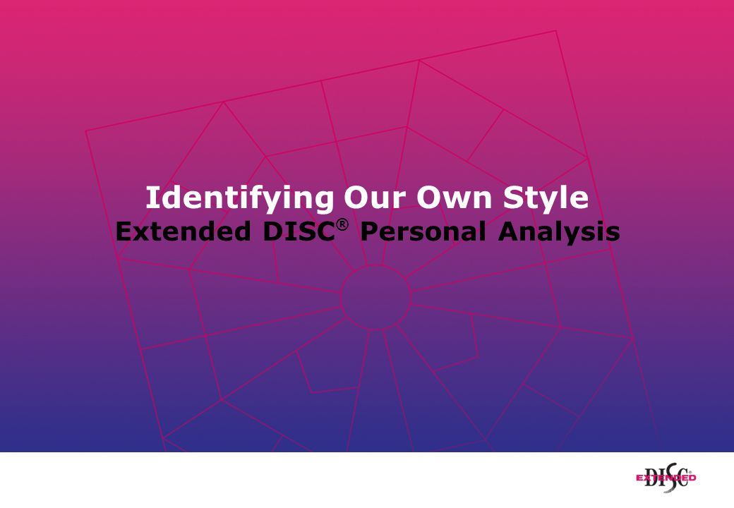 Identifying Our Own Style Extended DISC ® Personal Analysis