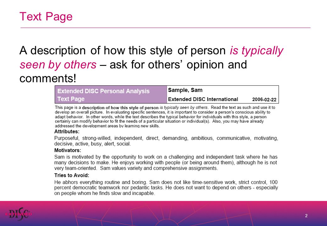 2 Text Page A description of how this style of person is typically seen by others – ask for others' opinion and comments!