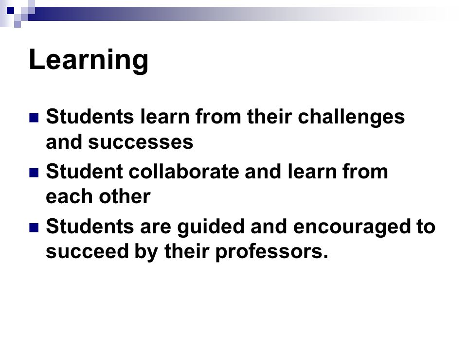 Learning Students learn from their challenges and successes Student collaborate and learn from each other Students are guided and encouraged to succeed by their professors.
