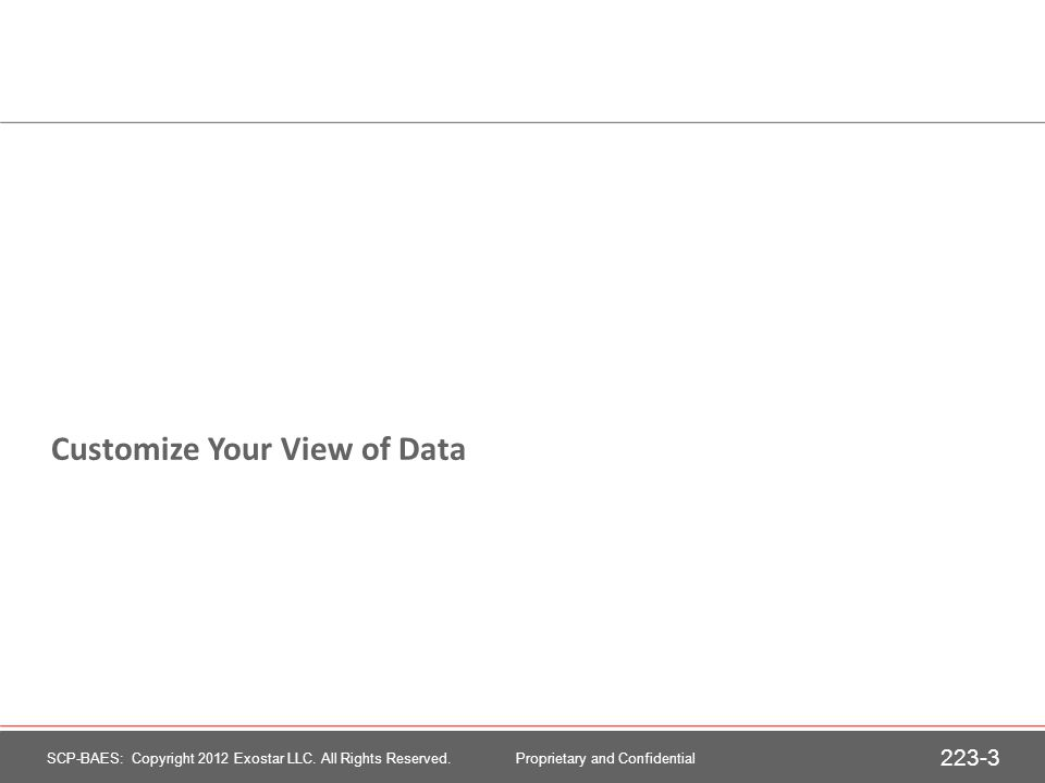Customize Your View of Data 223-3 SCP-BAES: Copyright 2012 Exostar LLC.