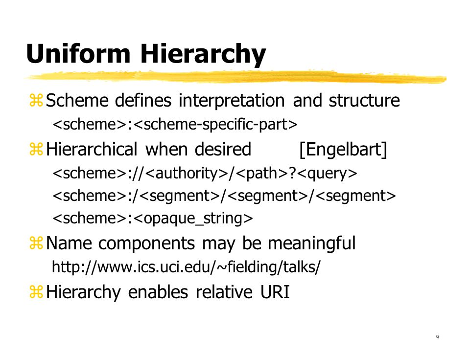 9 Uniform Hierarchy zScheme defines interpretation and structure : zHierarchical when desired [Engelbart] :// / .
