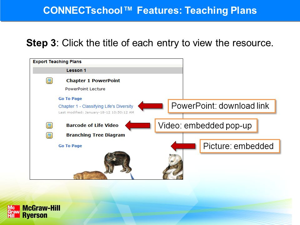 Step 3: Click the title of each entry to view the resource.