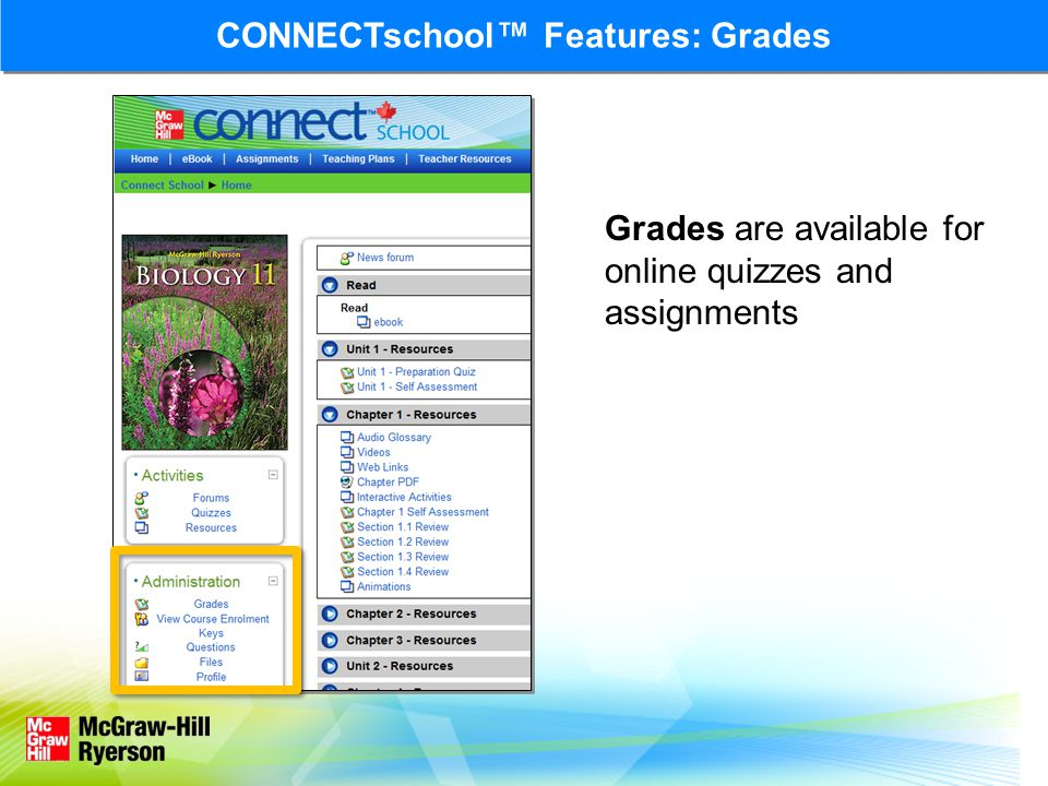 CONNECTschool™ Features: Grades Grades are available for online quizzes and assignments