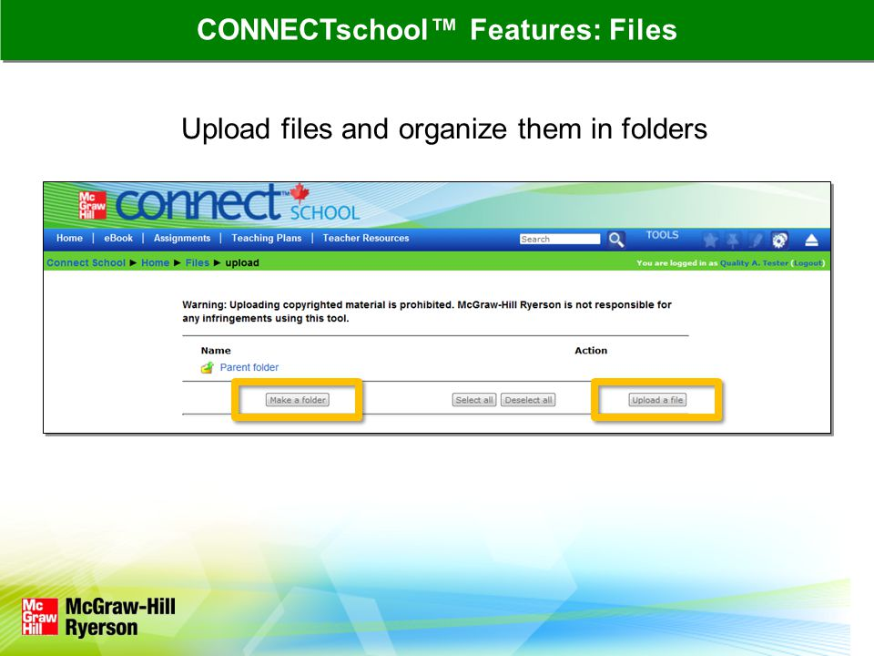 Upload files and organize them in folders