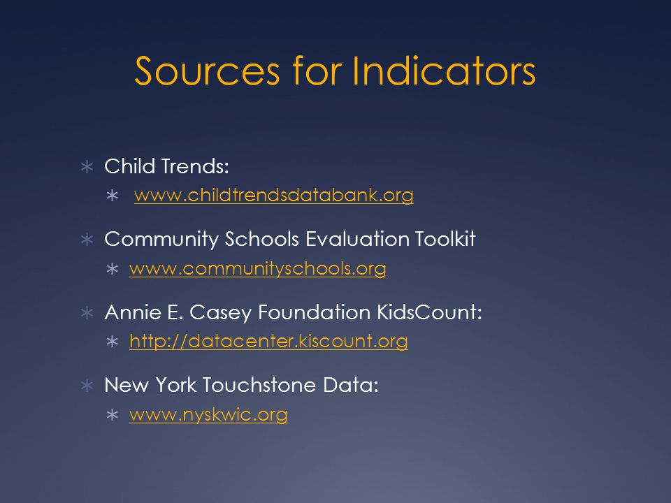 Sources for Indicators  Child Trends:  www.childtrendsdatabank.orgwww.childtrendsdatabank.org  Community Schools Evaluation Toolkit  www.communityschools.org www.communityschools.org  Annie E.