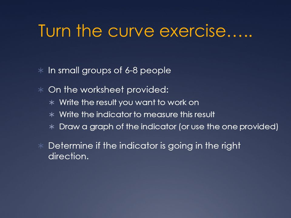Turn the curve exercise…..