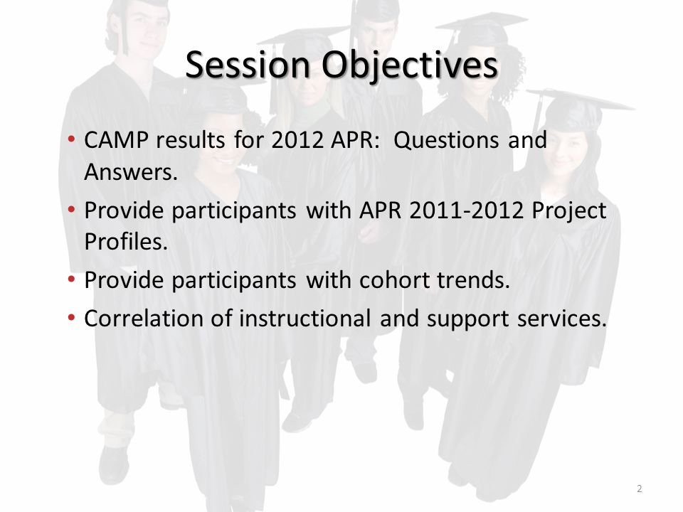 Session Objectives CAMP results for 2012 APR: Questions and Answers.