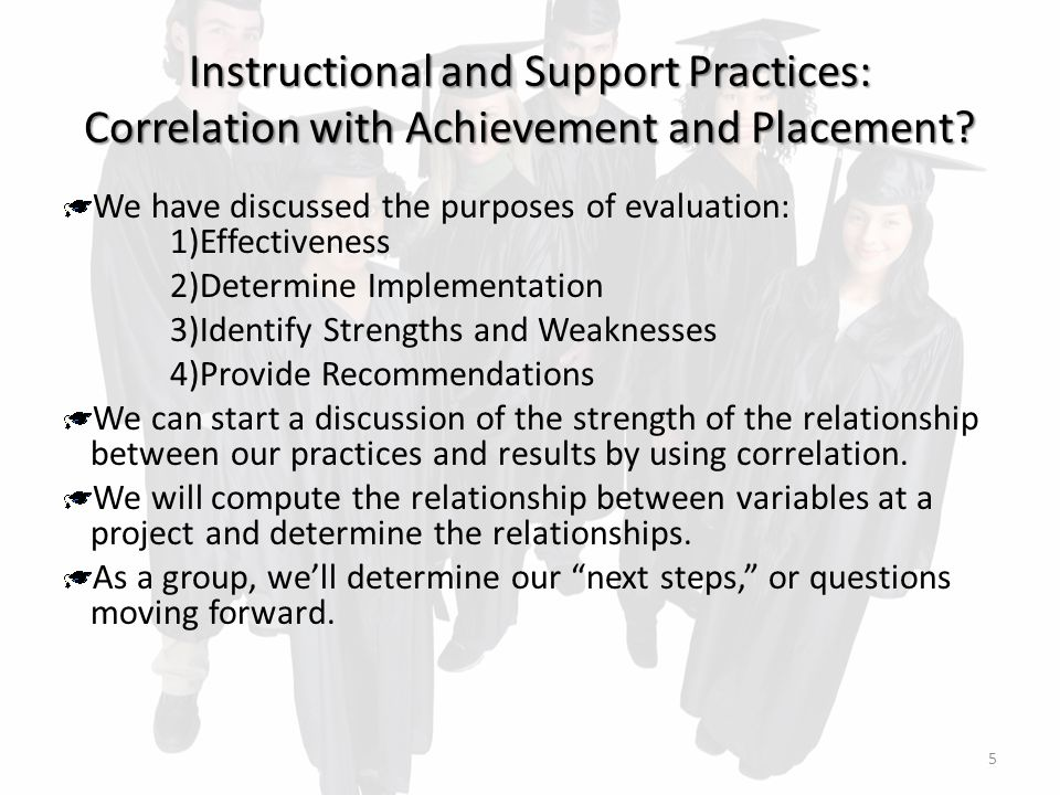 Instructional and Support Practices: Correlation with Achievement and Placement.