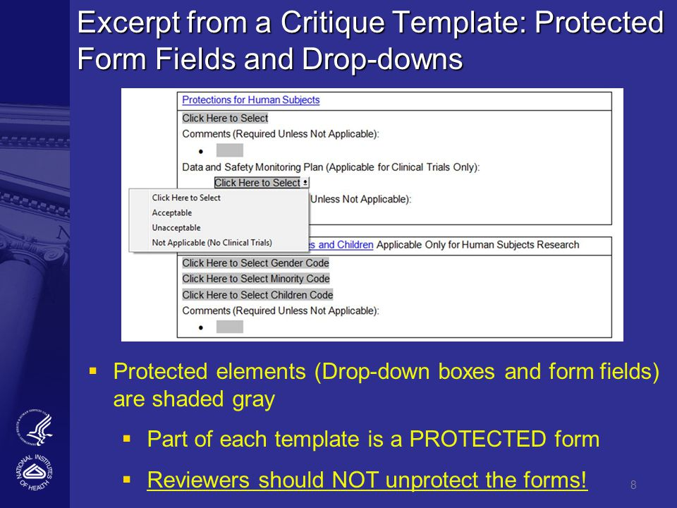8 Excerpt from a Critique Template: Protected Form Fields and Drop-downs  Protected elements (Drop-down boxes and form fields) are shaded gray  Part of each template is a PROTECTED form  Reviewers should NOT unprotect the forms!