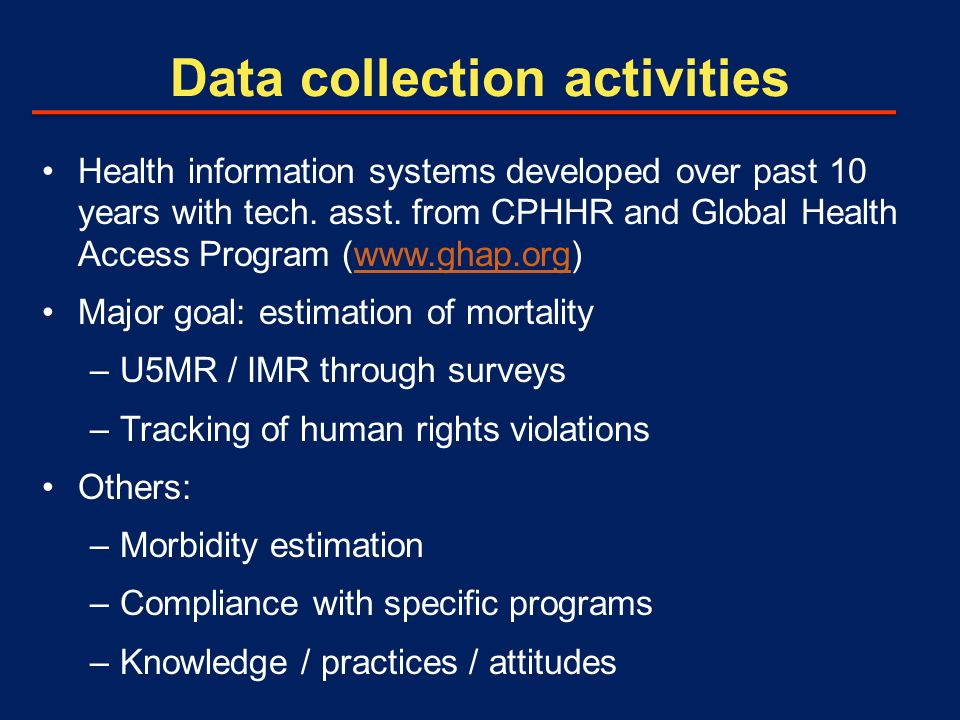 Data collection activities Health information systems developed over past 10 years with tech.