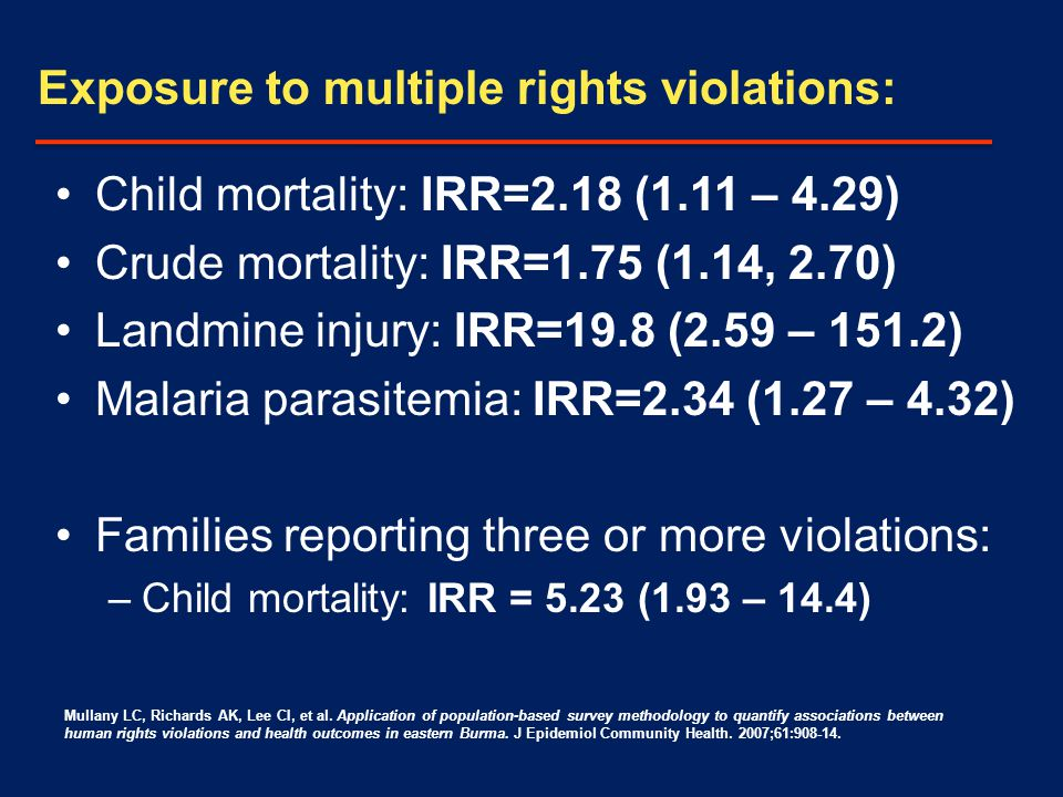 Child mortality: IRR=2.18 (1.11 – 4.29) Crude mortality: IRR=1.75 (1.14, 2.70) Landmine injury: IRR=19.8 (2.59 – 151.2) Malaria parasitemia: IRR=2.34 (1.27 – 4.32) Families reporting three or more violations: –Child mortality: IRR = 5.23 (1.93 – 14.4) Exposure to multiple rights violations: Mullany LC, Richards AK, Lee CI, et al.
