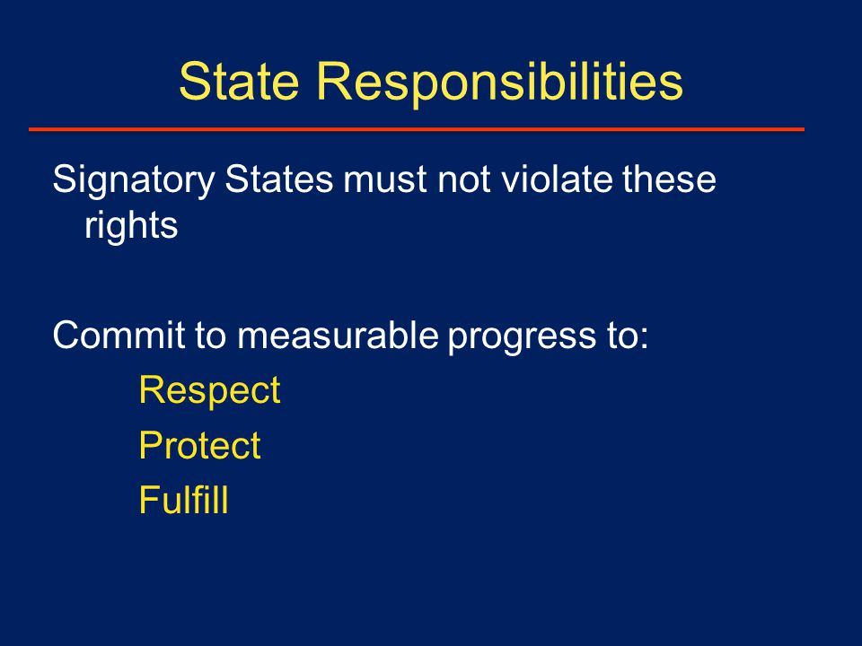 State Responsibilities Signatory States must not violate these rights Commit to measurable progress to: Respect Protect Fulfill