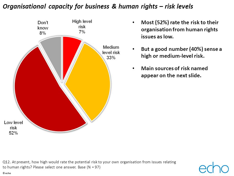 Organisational capacity for business & human rights – risk levels Most (52%) rate the risk to their organisation from human rights issues as low.
