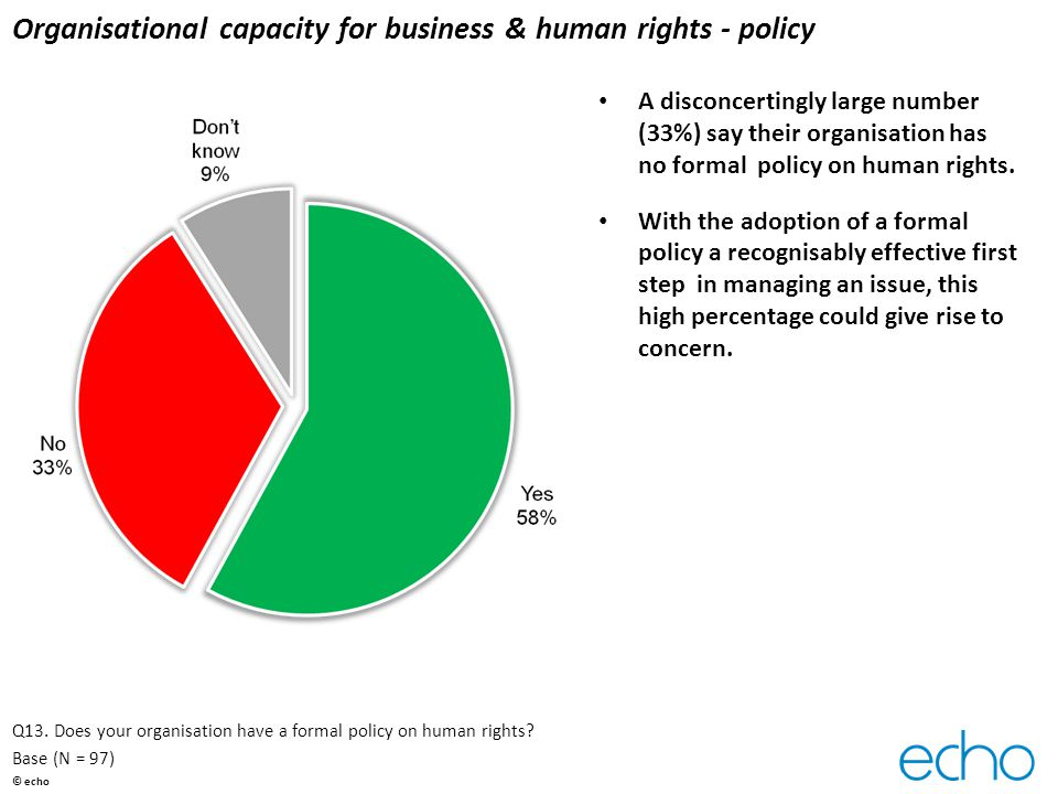 Organisational capacity for business & human rights - policy A disconcertingly large number (33%) say their organisation has no formal policy on human rights.