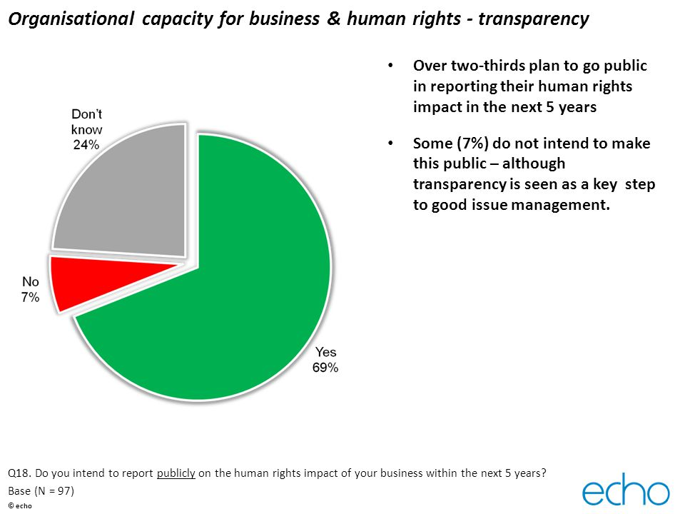 Organisational capacity for business & human rights - transparency Over two-thirds plan to go public in reporting their human rights impact in the next 5 years Some (7%) do not intend to make this public – although transparency is seen as a key step to good issue management.