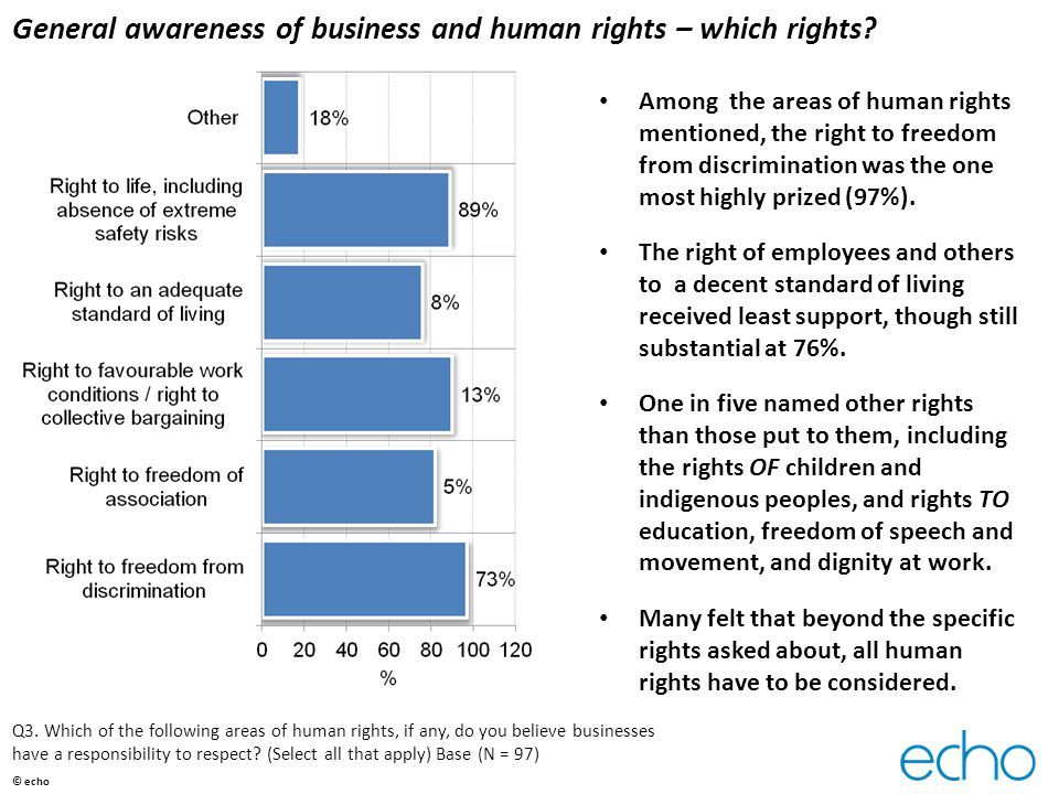 General awareness of business and human rights – which rights.