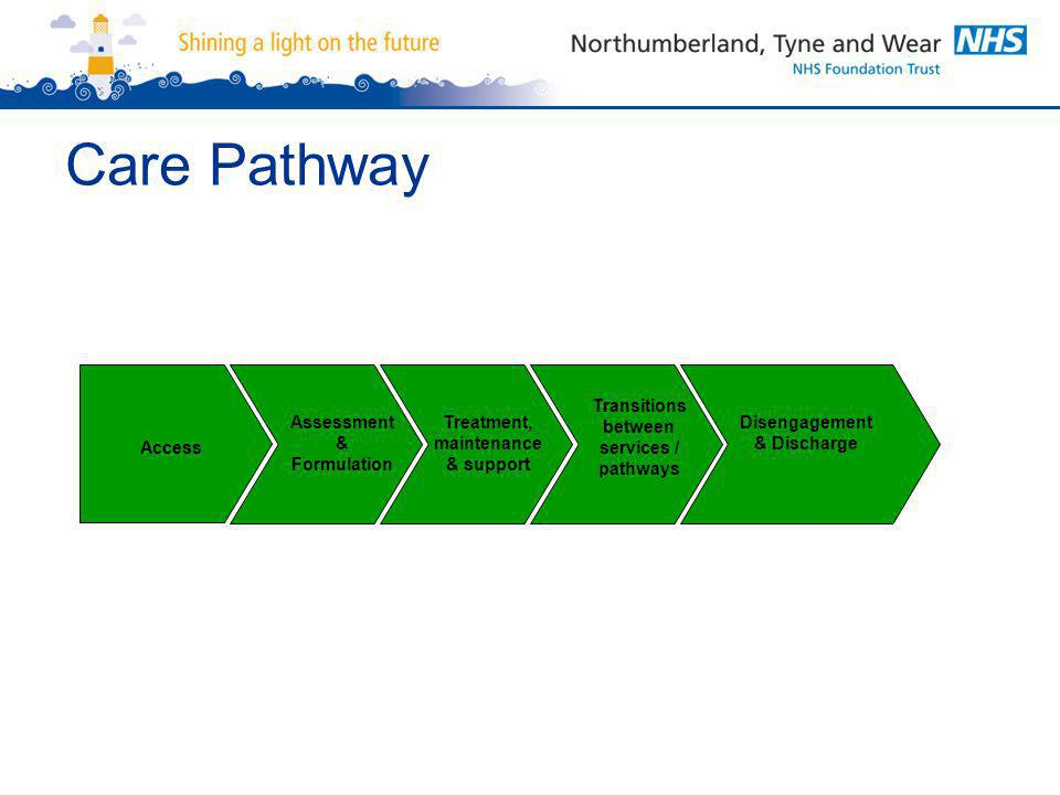 Care Pathway Access Assessment & Formulation Treatment, maintenance & support Transitions between services / pathways Disengagement & Discharge