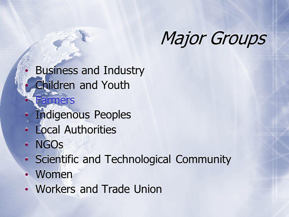 Major Groups Business and Industry Children and Youth Farmers Indigenous Peoples Local Authorities NGOs Scientific and Technological Community Women Workers and Trade Union Business and Industry Children and Youth Farmers Indigenous Peoples Local Authorities NGOs Scientific and Technological Community Women Workers and Trade Union