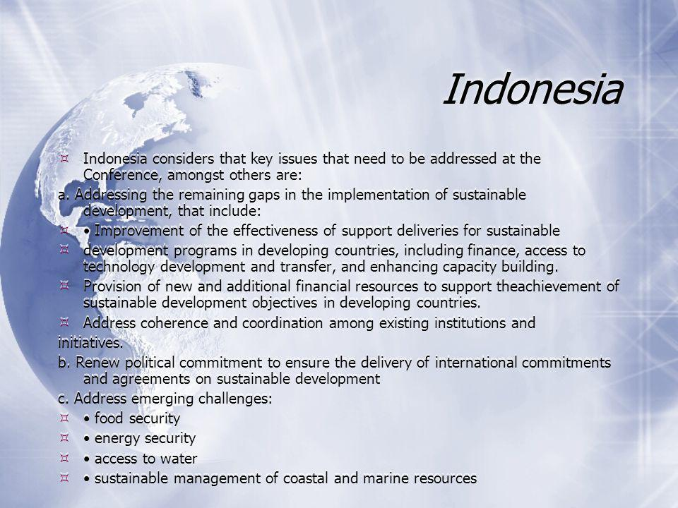 Indonesia  Indonesia considers that key issues that need to be addressed at the Conference, amongst others are: a.