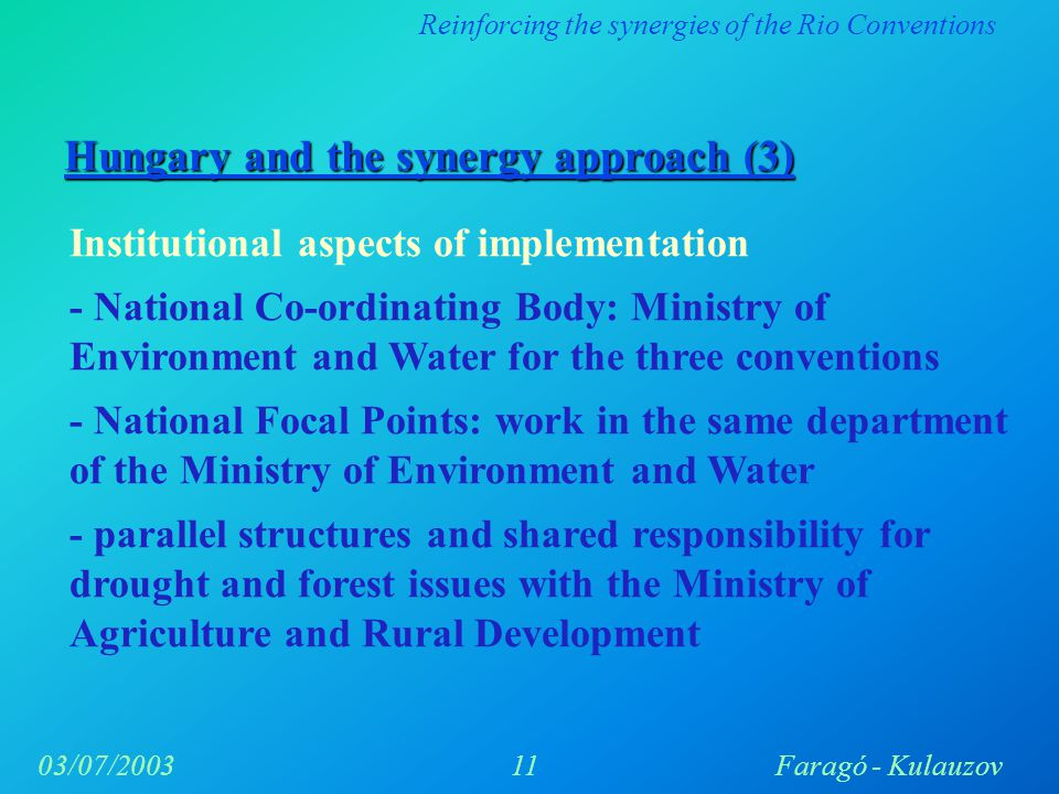 Reinforcing the synergies of the Rio Conventions 11Faragó - Kulauzov03/07/2003 Hungary and the synergy approach (3) Institutional aspects of implementation - National Co-ordinating Body: Ministry of Environment and Water for the three conventions - National Focal Points: work in the same department of the Ministry of Environment and Water - parallel structures and shared responsibility for drought and forest issues with the Ministry of Agriculture and Rural Development
