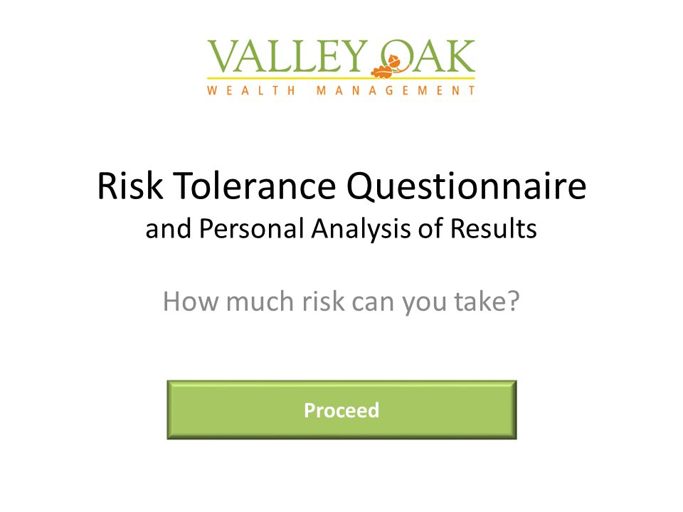 Risk Tolerance Questionnaire and Personal Analysis of Results How much risk can you take Proceed