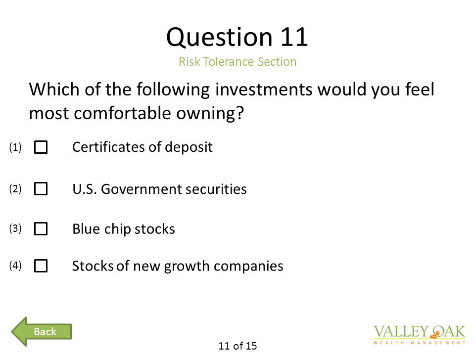 Question 11 Risk Tolerance Section Which of the following investments would you feel most comfortable owning.