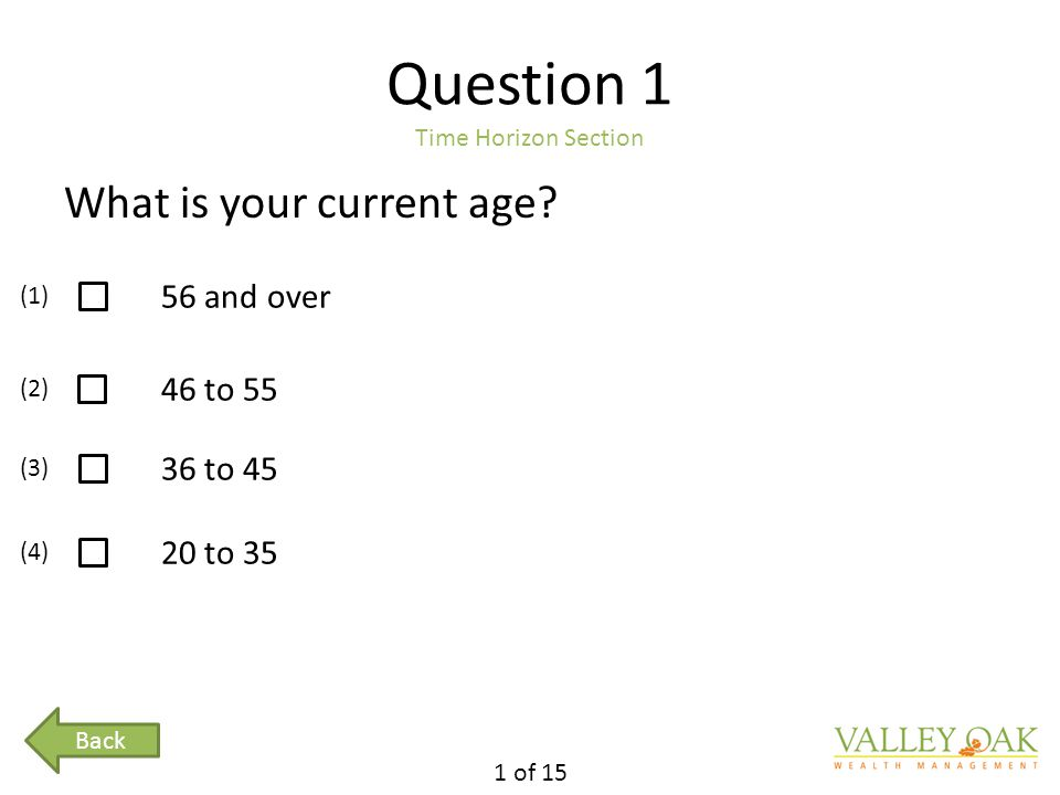 Question 1 Time Horizon Section What is your current age.