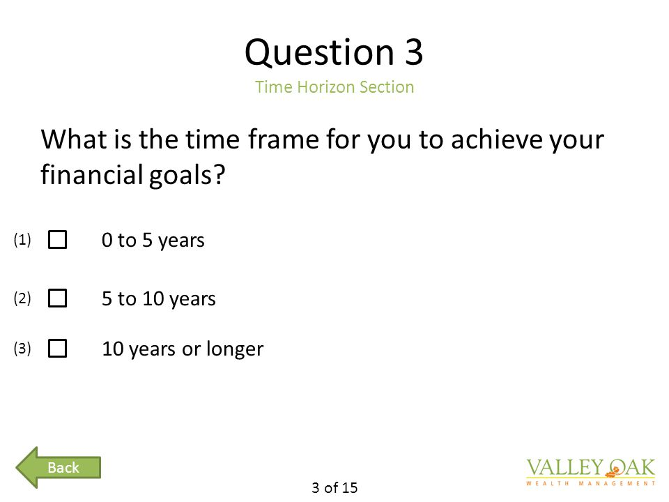 Question 3 Time Horizon Section What is the time frame for you to achieve your financial goals.