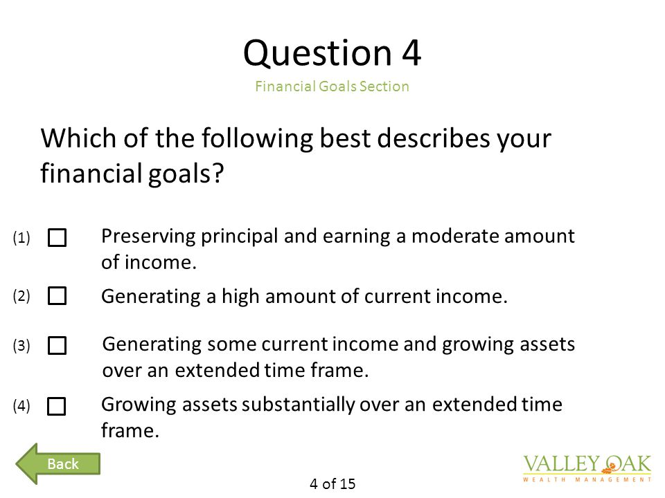 Question 4 Financial Goals Section Which of the following best describes your financial goals.