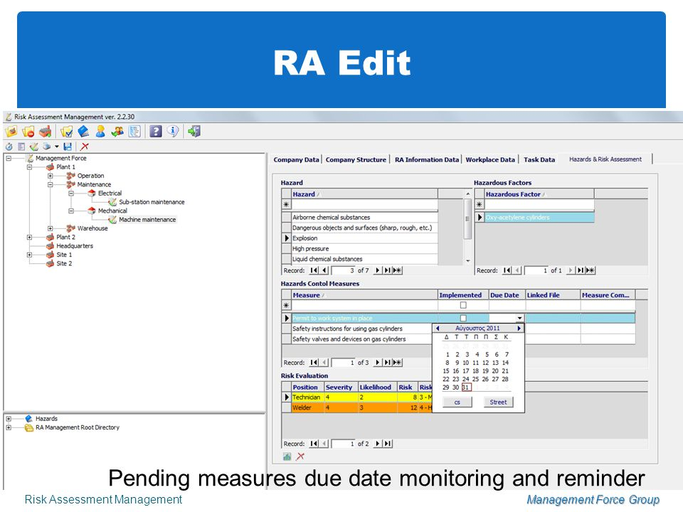 RA Edit Risk Assessment ManagementManagement Force Group Risk evaluation for every hazard and job position Pending measures due date monitoring and reminder