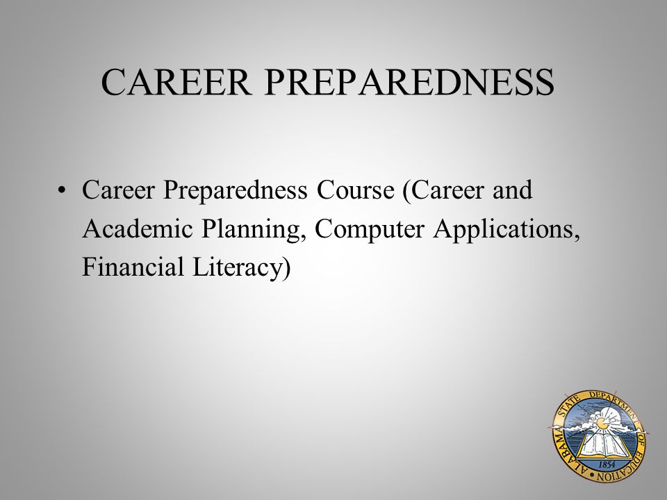 CAREER PREPAREDNESS Career Preparedness Course (Career and Academic Planning, Computer Applications, Financial Literacy)