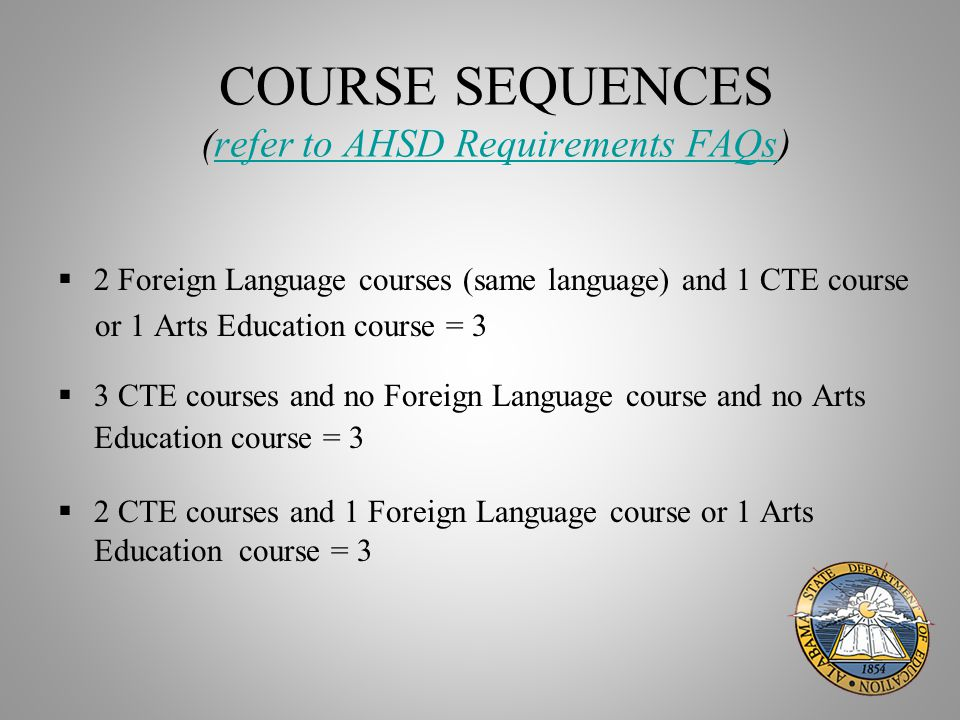 COURSE SEQUENCES (refer to AHSD Requirements FAQs)refer to AHSD Requirements FAQs  2 Foreign Language courses (same language) and 1 CTE course or 1 Arts Education course = 3  3 CTE courses and no Foreign Language course and no Arts Education course = 3  2 CTE courses and 1 Foreign Language course or 1 Arts Education course = 3